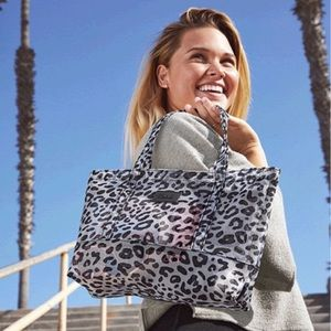 PINK LEOPARD Mesh tote and pouch